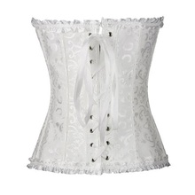 Sapubonva Corsets Sexy Women's Plus Size Corsets and Bustiers Overbust Gothic Strapless Brocade Corselet Clothing White Black