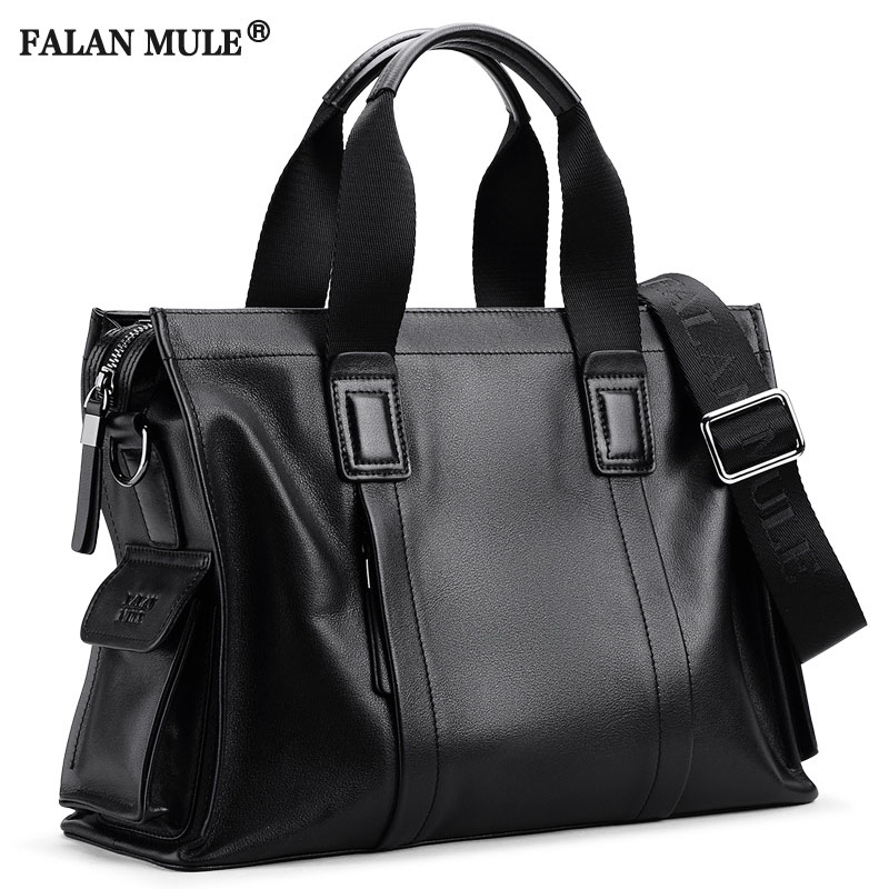 FALAN MULE fashion luxury brand men bag genuine leather handbag shoulder bags business men briefcase laptop bag