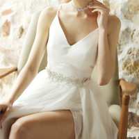 Luxury Flower Wedding Dress Belt Sash With Rhinestone Silver Crystal Beads Bohemia Bridal Belt For Wedding Prom Gown FB11