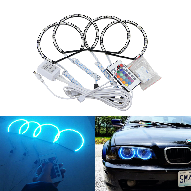 цена на Color Changing Remote Mode LED Angel Eyes SMD 5050 RGB Halo Rings Kit for BMW E46 Non Projector Headlights