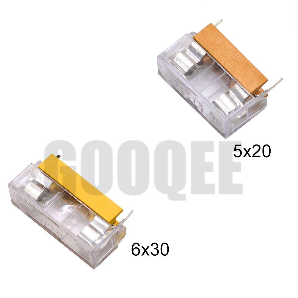Suporte transparente para fusível, 5*20mm 6*30mm suporte de vidro com cobertura transparente blocos de fusível cabeçote de seguro de 20mm 6x30mm 250v