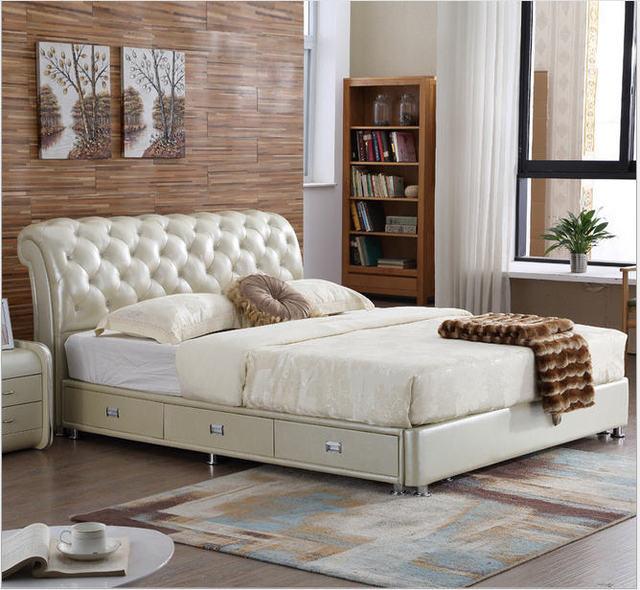 Real Genuine leather bed frame Soft Beds Home Bedroom Furniture camas lit muebles de dormitorio yatak mobilya quarto bett