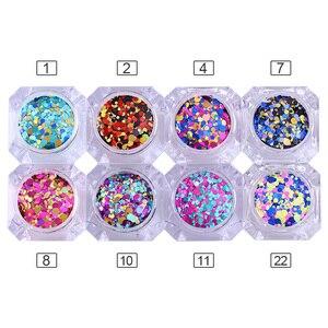 Image 2 - 1 kutu 2g Tırnak Sanat Yuvarlak Şekiller Konfeti Payetler Renkli Glitter 1mm 2mm 3mm Tırnak Madeni Pul flakies 8 Renkler Mevcut