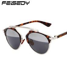 FEISEDY Vintage Cat Eye Sunglasses Women Brand New Designer Classic Fashion Retro Splice Mercury Sun Glasses Men Lunettes Gafas