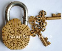 HDC0743 Antiqued Solid Brass Tibetan Eight Auspicious Symbols Locks Big Retail Wholesale Free Ship