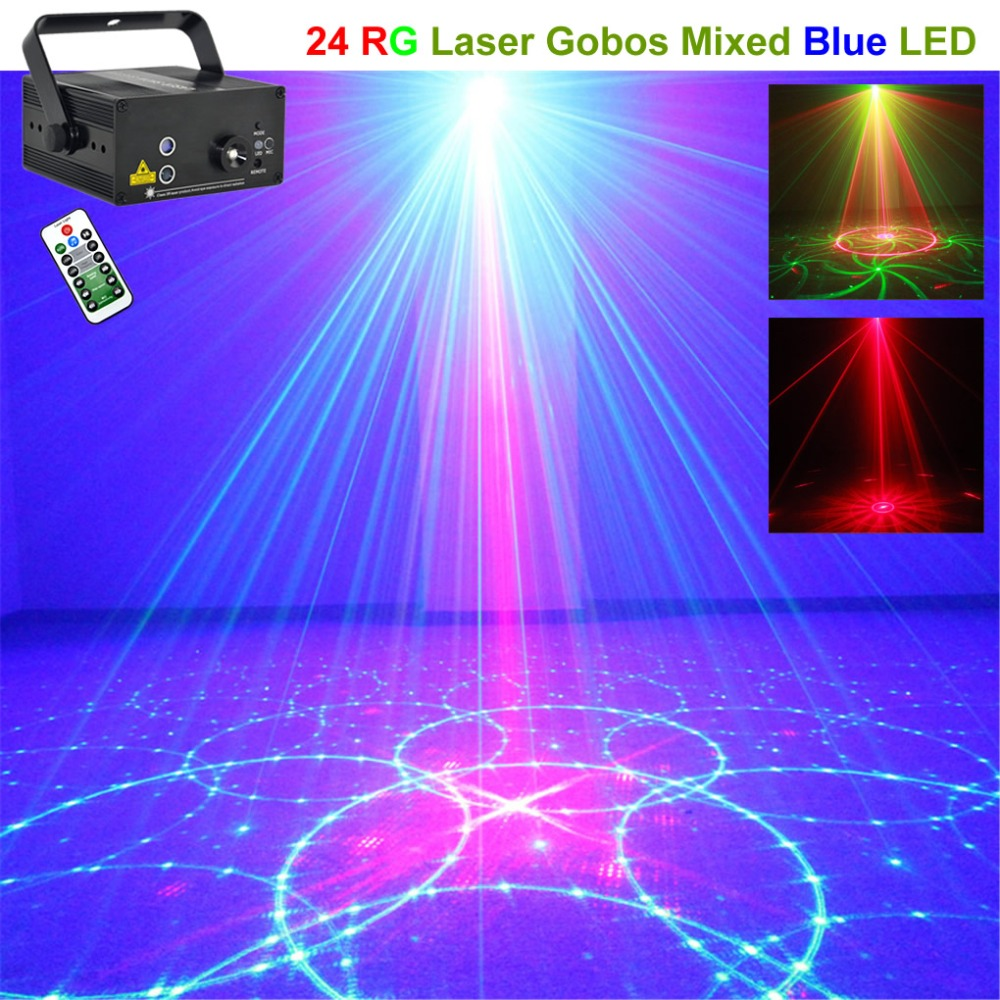 Mini Remote 24 Patterns RG Red Green Laser Projector 3W Blue LED Lights DJ Home Party Wedding Show Stage Lighting Effect 24RG