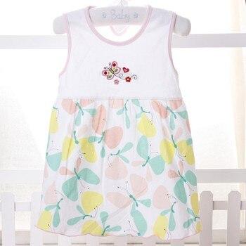 Random Color Summer Cute Infant Baby Girls Dress Baby leeveless Printed A-Line Dress One Piece Mini Dress 1-2Y conjuntos casuales para niñas