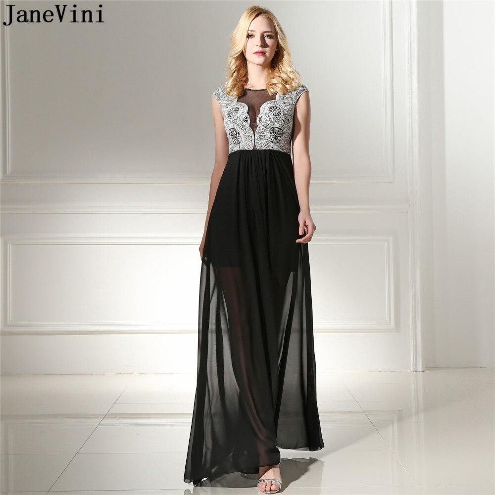 JaneVini Sexy Black Lace Beaded Long Bridesmaid Dresses A Line Scoop Neck Sheer Back Chiffon Prom Dress Floor Length Robe Longue