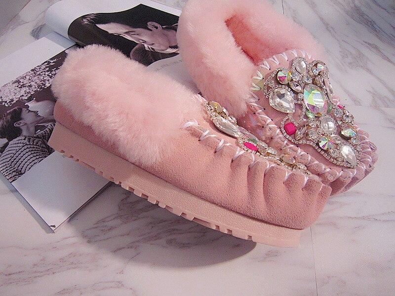 De Pic As Zapatos Tipo Cristal Cadena Bling Mujer Lana Cuero Guisantes Adorno Casuales FwwxPdRq7