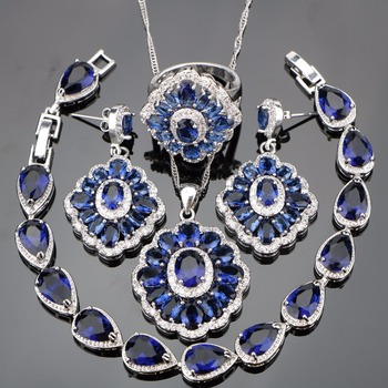 Super 925 Sterling Silver Blue Zirconia White Rhinestones Jewelry Sets