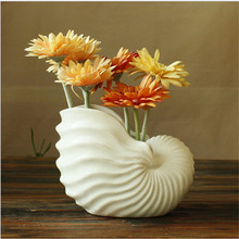 Minimalist ceramic cerative conch flowers vase pot home decor crafts room weeding decorations handicraft porcelain figurines