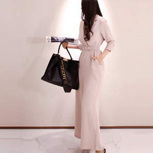 Image 3 - H Han Queen Elegant Belted Waist Business Jumpsuits Women 2019 New Notched Neck Wide Leg Long Playsuits Casual Work Wear Rompers