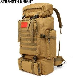 Image 1 - 70L Large Capacity Backpack Waterproof Nylon Military Tactics Molle Army Bag Men Backpack Rucksack for Hike Travel Backpacks