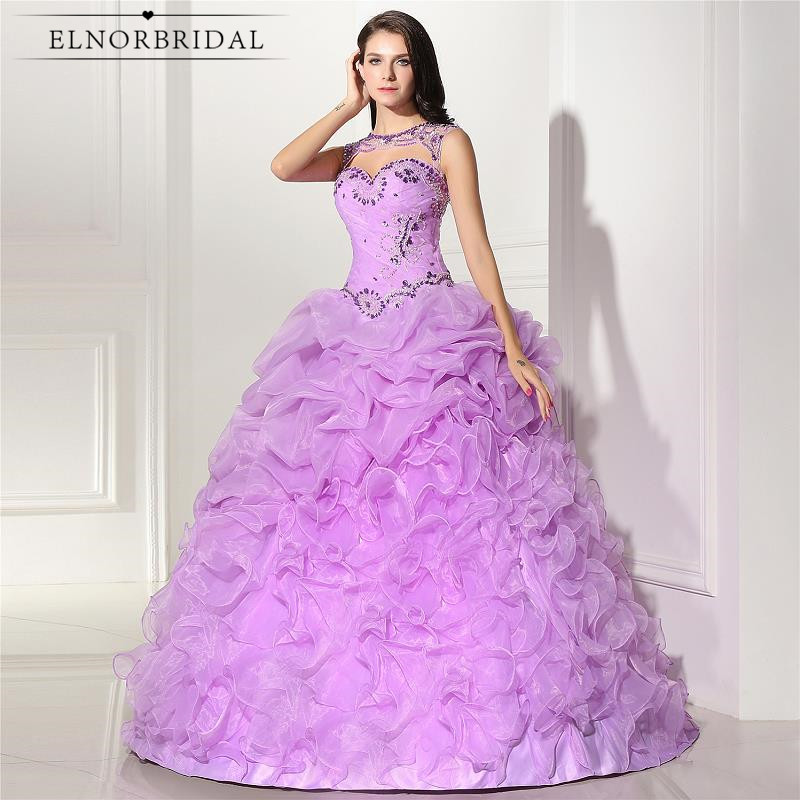 Elnorbridal Real Photo Purple Quinceanera Dresses Ball Gown 2018 Vestido 15 Anos Corest Back Plus Size Sweet 16 Pageant Dress