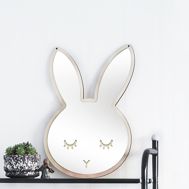 Children Cartoon Decorative Mirror Bathroom Baby Room Rabbit Bowknot Wall Mirror Frame Creative Home Art Decoration in Decorative Mirrors from Home Garden