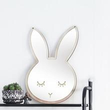 Дети мультфильм декоративные зеркала Ванная комната Детская комната Кролик бантом рамка из зеркального стекла творческий художественное украшение для дома