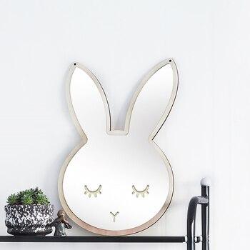 Enfants dessin animé miroir décoratif salle de bains bébé chambre lapin Bowknot mur miroir cadre créatif Art de la maison décoration