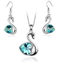 Кристалл Лебединое озеро кулон талисманы любовник Модные Ювелирные наборы подарок на день рождения ожерелье серьги Подарки Прямая качество