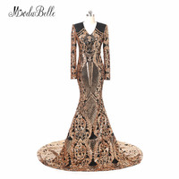 Modabelle Sequin Zwart En Goud Avondjurken 2018 Robe De Mariee Elegante Dubai Prom Jurken Lange Afrikaanse Formele Avondjurk