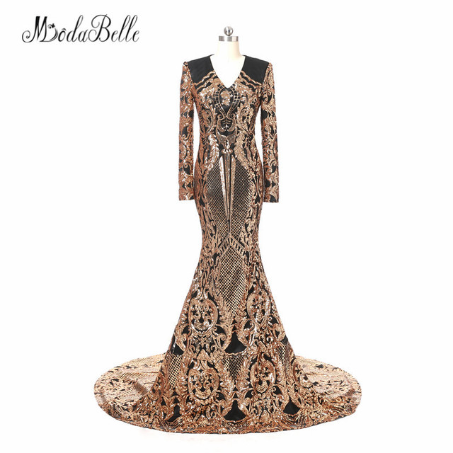 7e3c98827a556 US $239.4 40% OFF|modabelle Sequin Black And Gold Evening Dresses 2018 Robe  De Mariee Elegant Dubai Prom Dresses Long African Formal Evening Gown-in ...