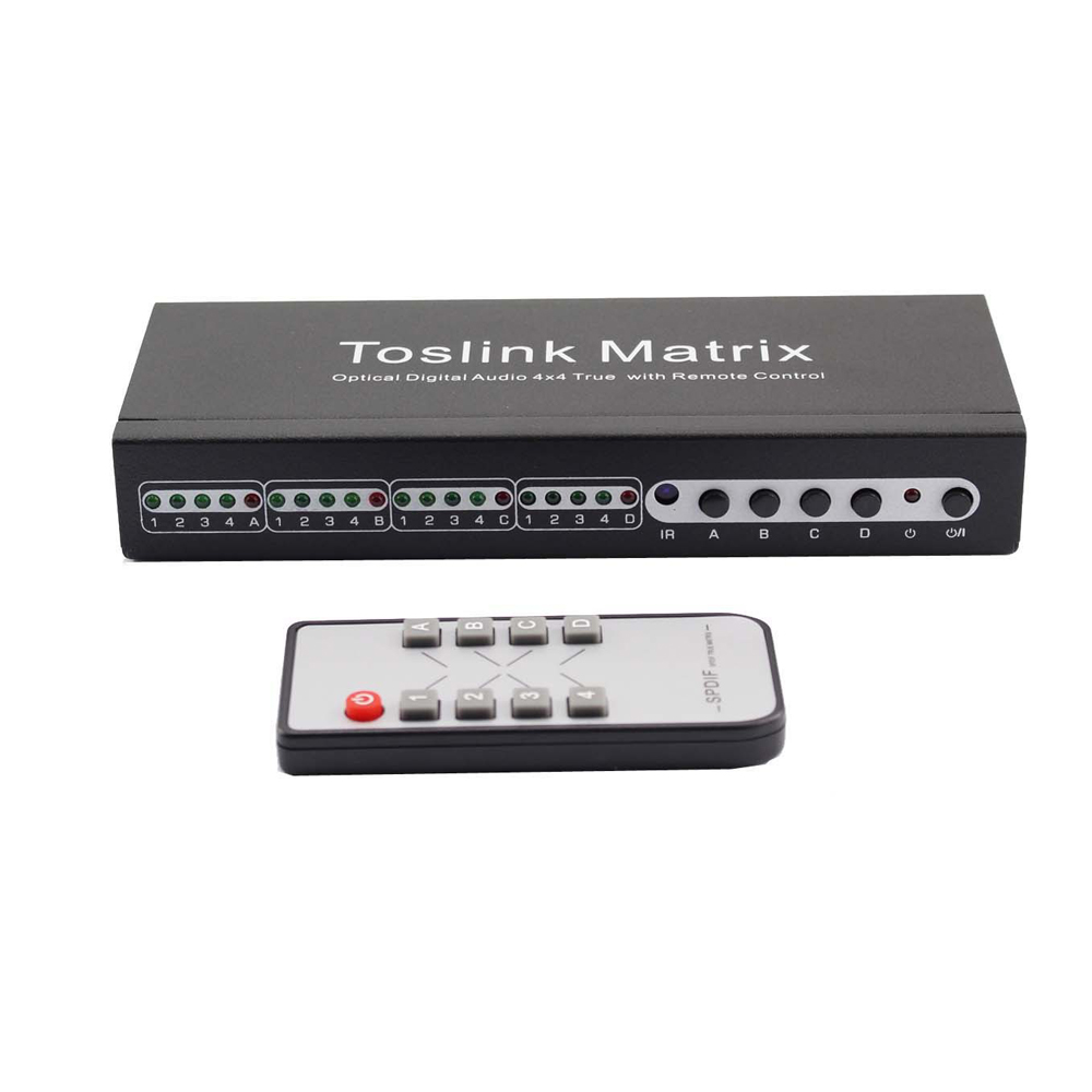 New SPDIF TOSLINK Digital Optical Audio True Matrix 4x4 Switch Switcher Splitter 4 In 4 Out Video Converter with Remote Control