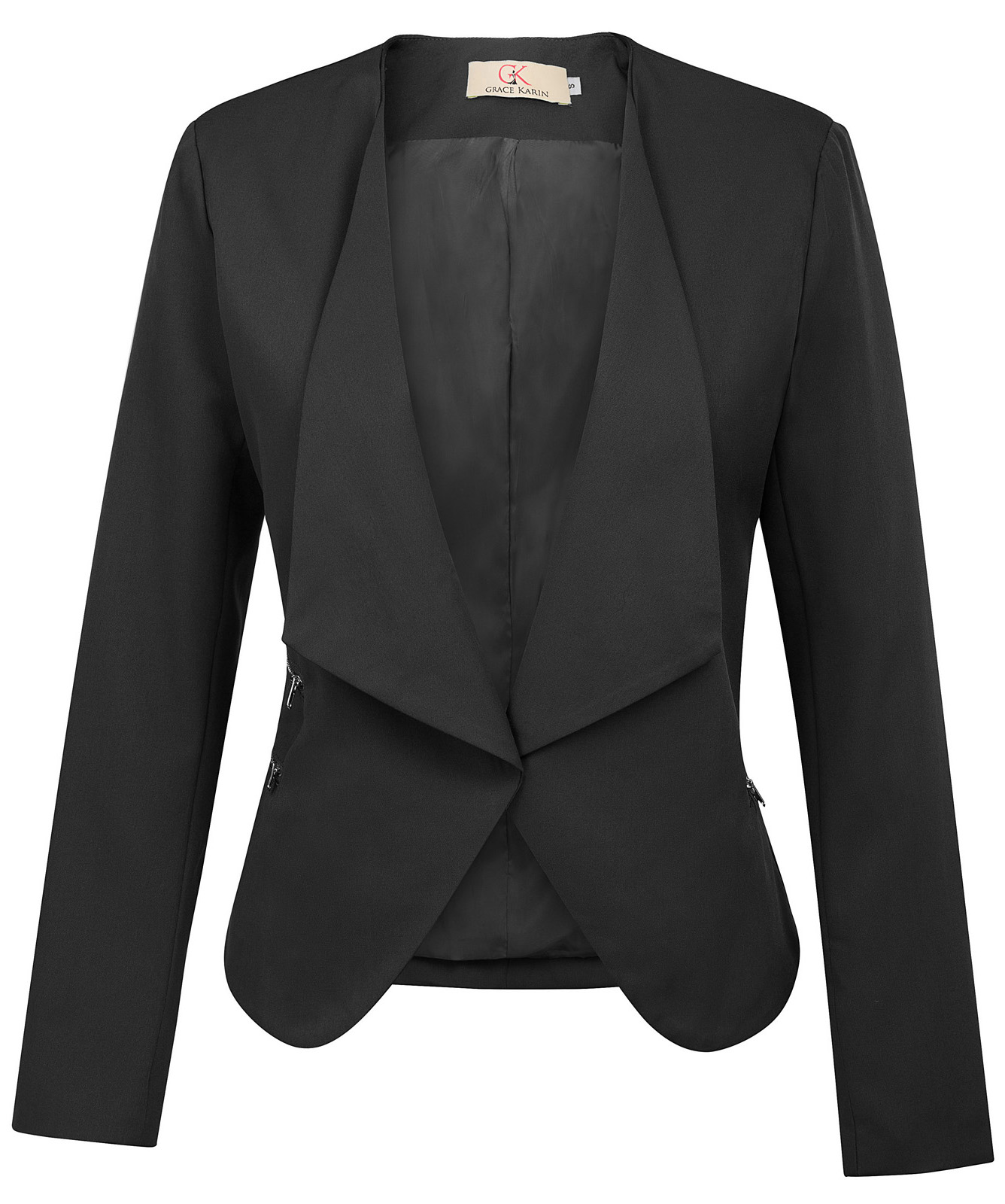 Womens Stylish Solid Color Office Irregular Hem Blazer Coat Tops