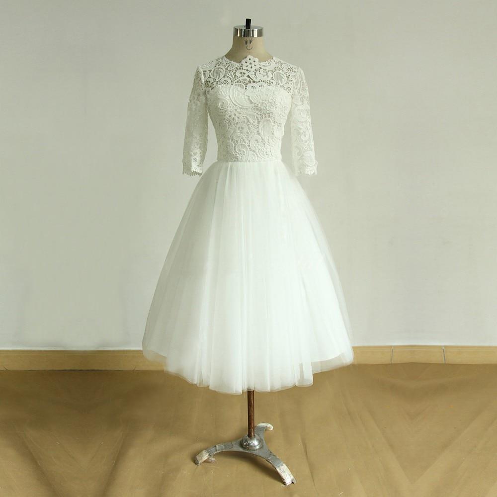 Vintage Three Quarter Length Wedding Dresses: Vintage Style Ivory Wedding Dresses Tea Length A Line