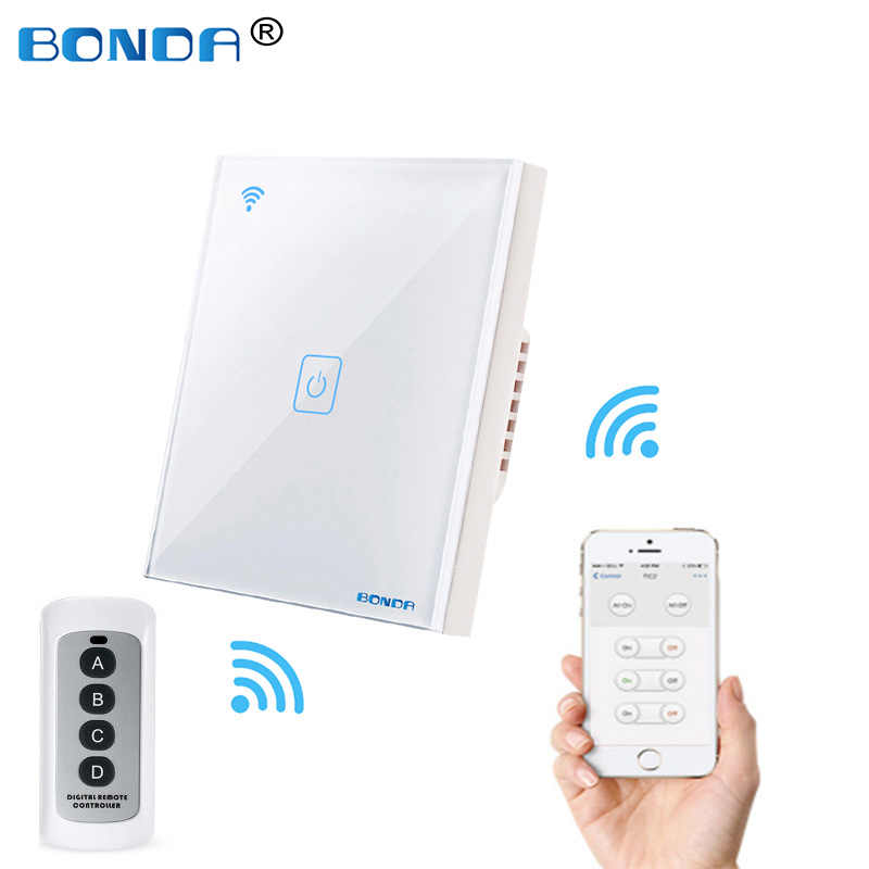Bonda EU Standard 1/2/3 Gang WIFI Touch Switch Wall Smart Line Kaca Kristal Single Line Alexa google Ewelink