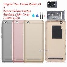 Ban đầu Cho Xiaomi Redmi 5A Lưng Pin Vỏ Bao Da Redmi 5A Sau Bao Da + Kính Cường Lực + Mặt Phím Nút sửa chữa Các Bộ Phận Dự Phòng