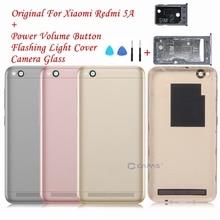 Funda Original para Xiaomi Redmi 5A carcasa trasera de batería, cubierta trasera Redmi 5A + Cristal de cámara + teclas laterales botón Reparación de piezas de repuesto