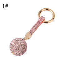 Keychain  Rhinestone Crystal Leather Ball Charm Car Pendant Bag Key Ring Keyfob