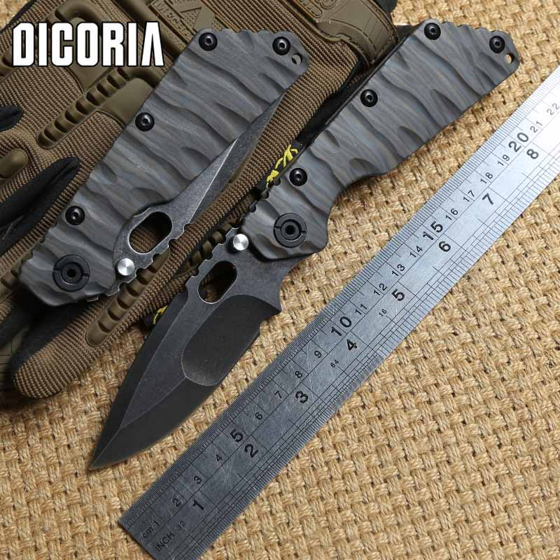 DICORIA ST SMF Titanium handle D2 blade Ball bearing Tactical Folding Knife camping hunting outdoor survival Knives EDC tools