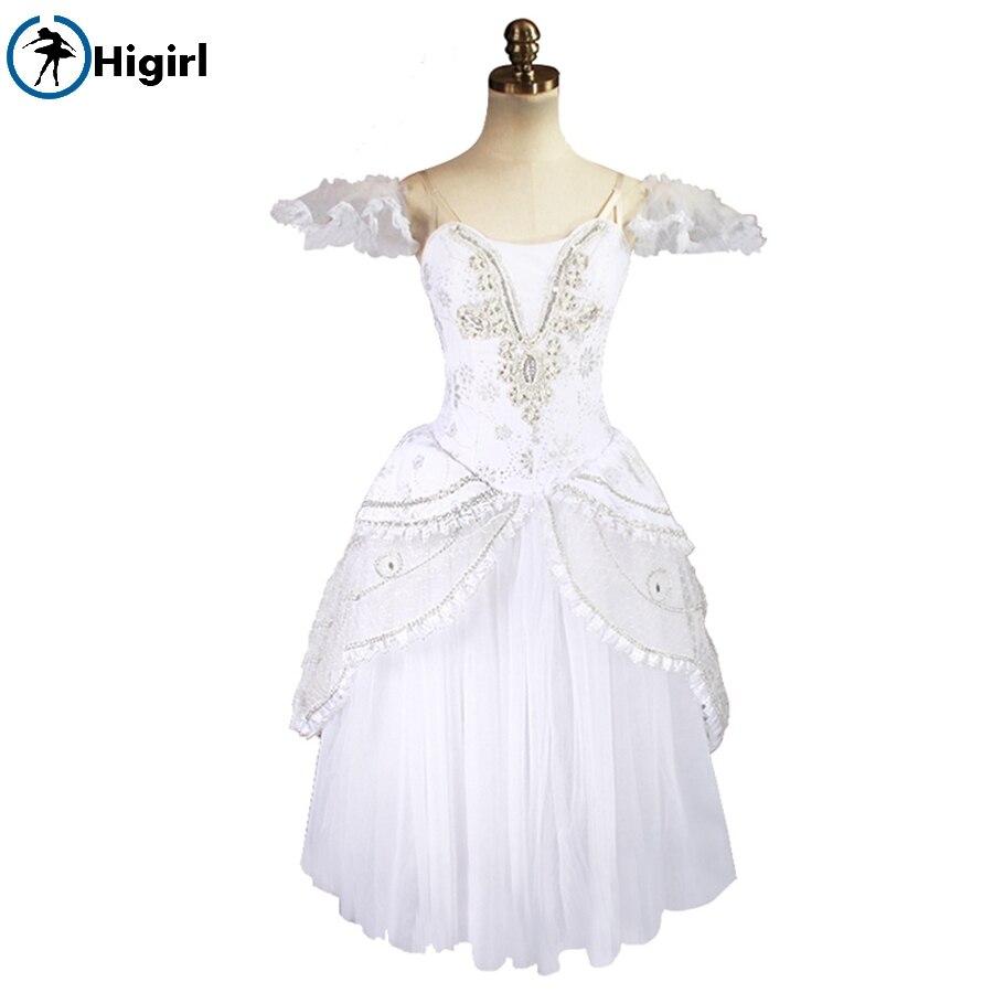 Neige Blanc Reine Adulte Professionnel Ballet Long Tutu Ballet Romantique Tutu Robe Ballerine Costumes de Scène BT8902