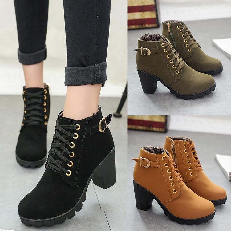 Botas Mulheres Sapatos de Moda Feminina do Salto Alto Lace Up Plataforma Ankle Boots Senhoras Fivela Sapatos De Couro Artificial bota feminina