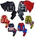 RT-193 Весна Осень 2017 Халк пижамы для мальчиков детей Бэтмен пижамы super hero Железный Человек костюм Человек-Паук Бэтмен пижамы костюмы