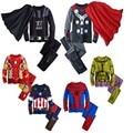 Rt-193 fall primavera 2017 pijama hulk para meninos crianças pijama batman super hero spiderman batman homem de ferro traje pijamas ternos