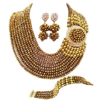 Fashion Golden Brown African Necklace Bracelet Earrings Nigerian Beads Jewelry Set 10DBPH05