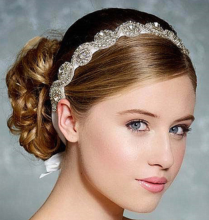 new 2014 crystal bridal headband rhinestone headpiece head chain hair jewelry wedding hair accessories bridal headwear wigo0288 in hair jewelry from jewelry