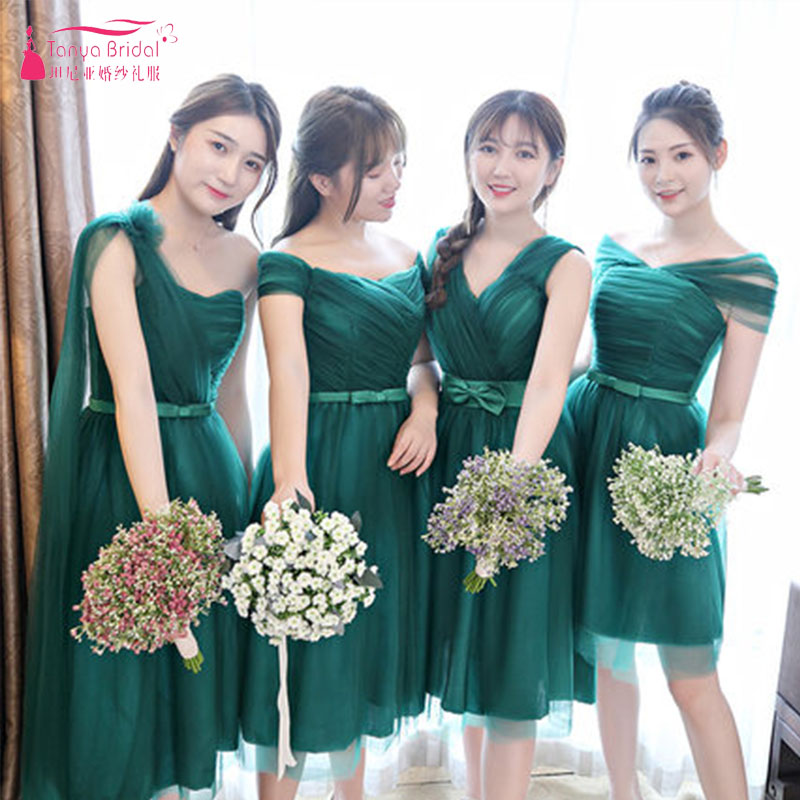 Us 37 83 3 Off Dark Green Knee Length Bridesmaid Dresses 4 Styles Brides Maid Honor Gowns Vestido De Festa Zb056 In From