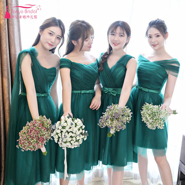 Dark Green Knee Length Bridesmaid Dresses 4 Styles Cheap Brides Maid Honor Gowns  Vestido De Festa ZB056 8f60c75f6b78