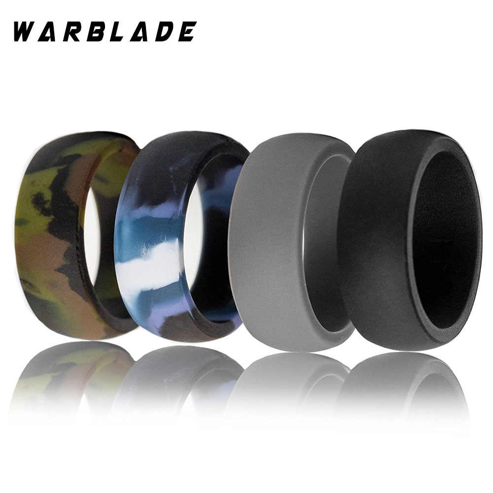 3pc/set 6-12 Size Food Grade FDA Silicone Ring Hypoallergenic Crossfit Flexible Camouflage Rubber Finger Rings For Men Women 8mm