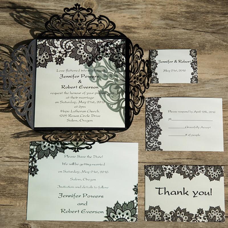 Blank Printable Wedding Invitations: 50 Set Design Flower Lace Laser Cut Wedding Invitation For