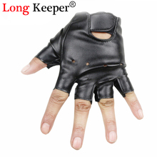 Cool Gloves Kids Fingerless Leather Gloves Boys Girls Semi fingerless Glove Half-finger Black Children mittens For 5-13 Y G078