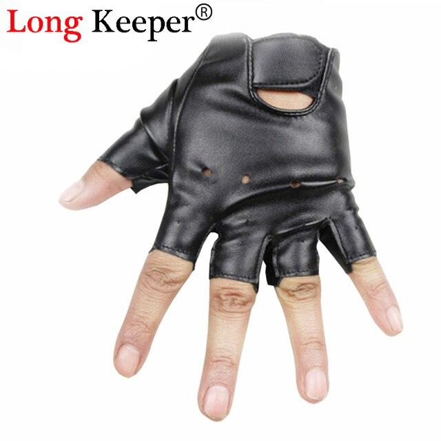 6c847e45f Long Keeper Cool Gloves Kids Fingerless Leather Gloves Semi fingerless  Glove Half-finger Black Children mittens For 5-13 Y G078