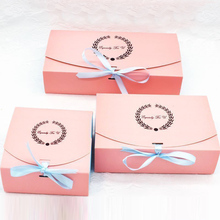 20 Pcs kraft paper box Wedding party garland Ribbon Pink cupcake Cookies candy Maccaron Floral Gilding gift packaging bag
