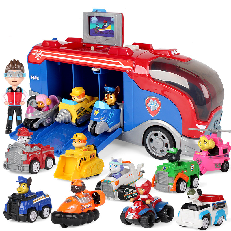 Paw Patrol Dog Patrol Car Sliding Team Big Truck Toy Music Rescue Team Toy Patrulla Canina Juguetes Action Figures Toy Gifts Set