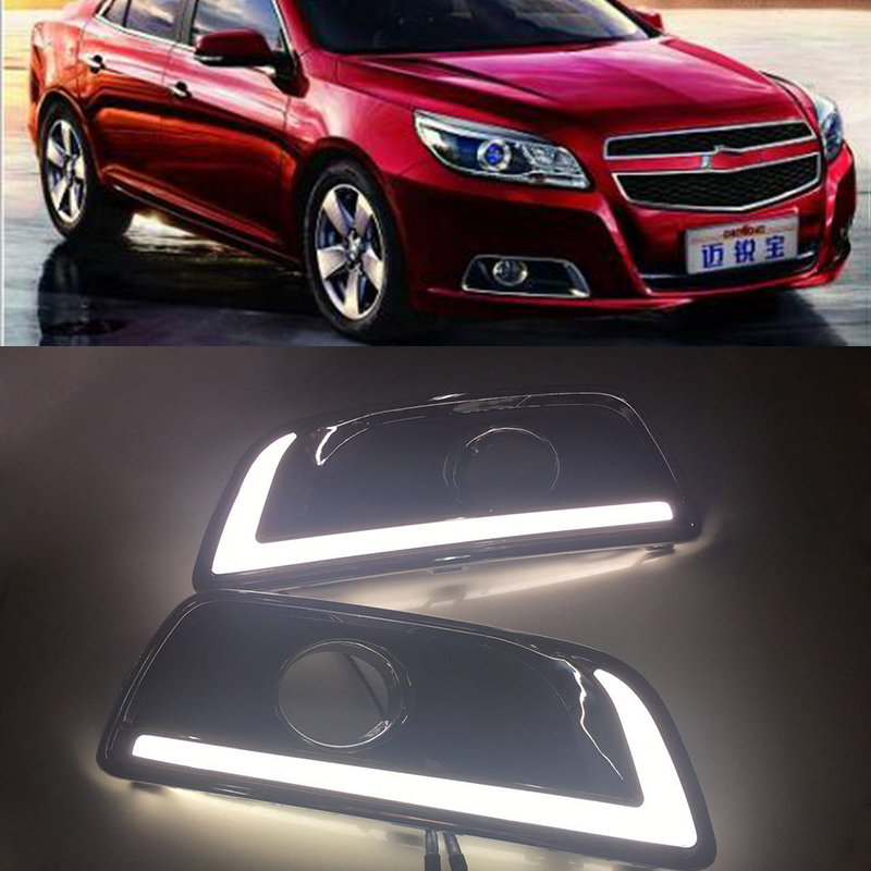 Car Flashing 1Pair For Chevrolet chevy Malibu 2011 2015 LED Daytime Running Lights DRL With Yellow