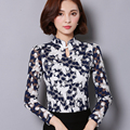 New Women Casual Basic Autumn Winter Chiffon Lace Blouse Top Shirt blusas print Fashion Hollow out Floral Full Sleeve Plus Size