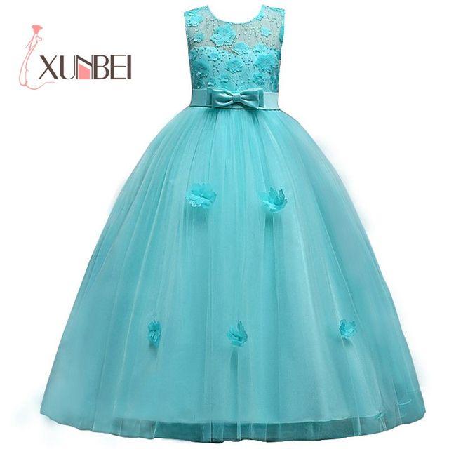 Mới Công Chúa Bé Gái Váy Đầm Ren Hoa Bé Gái Váy Đầm Voan Bé Gái Cuộc Thi Áo Đầu Tiên Hiệp Thông Đầm Đảng Đồ Bầu