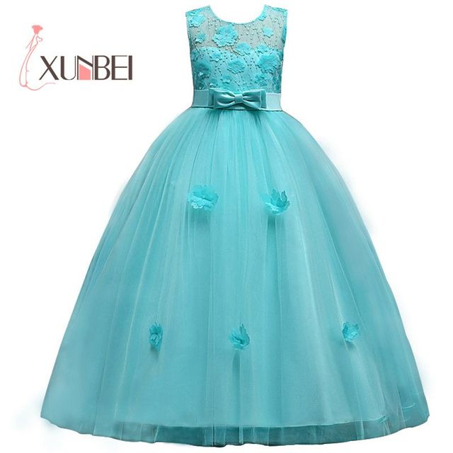 New Princess Girls Dresses Lace Flower Girl Dresses  Tulle Girls Pageant Dresses First Communion Dresses Party Gowns